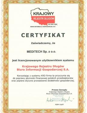 Certyfikat KRD BIG S.A.