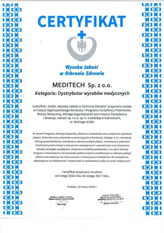 """Certyfikat """"Wysoka jakość w ochronie zdrowia"""